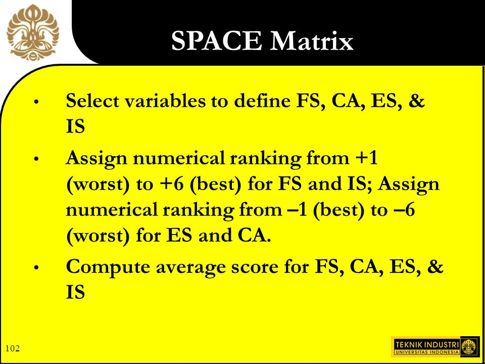 101 Developing the SPACE Matrix: EFE Matrix IFE Matrix Financial Strength Competitive Advantage Environmental Stability Industry Strength SPACE Matrix