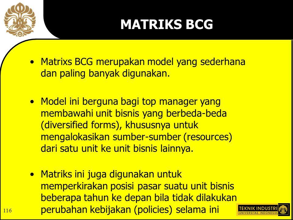 116 Matrixs BCG merupakan model yang sederhana dan paling banyak digunakan.