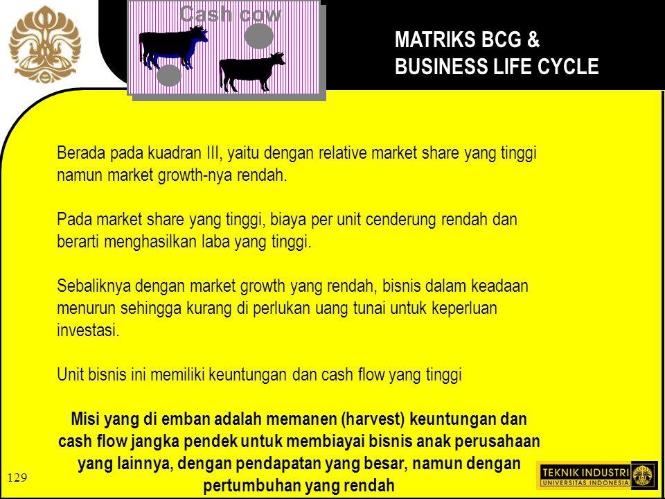 129 Cash cow MATRIKS BCG & BUSINESS LIFE CYCLE Berada pada kuadran III, yaitu dengan relative market share yang tinggi namun market growth-nya rendah.