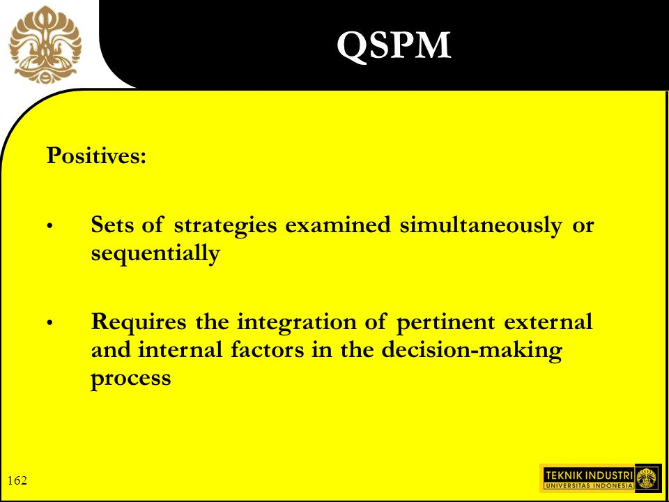 161 Limitations: Requires intuitive judgments and educated assumptions Only as good as the prerequisite inputs QSPM