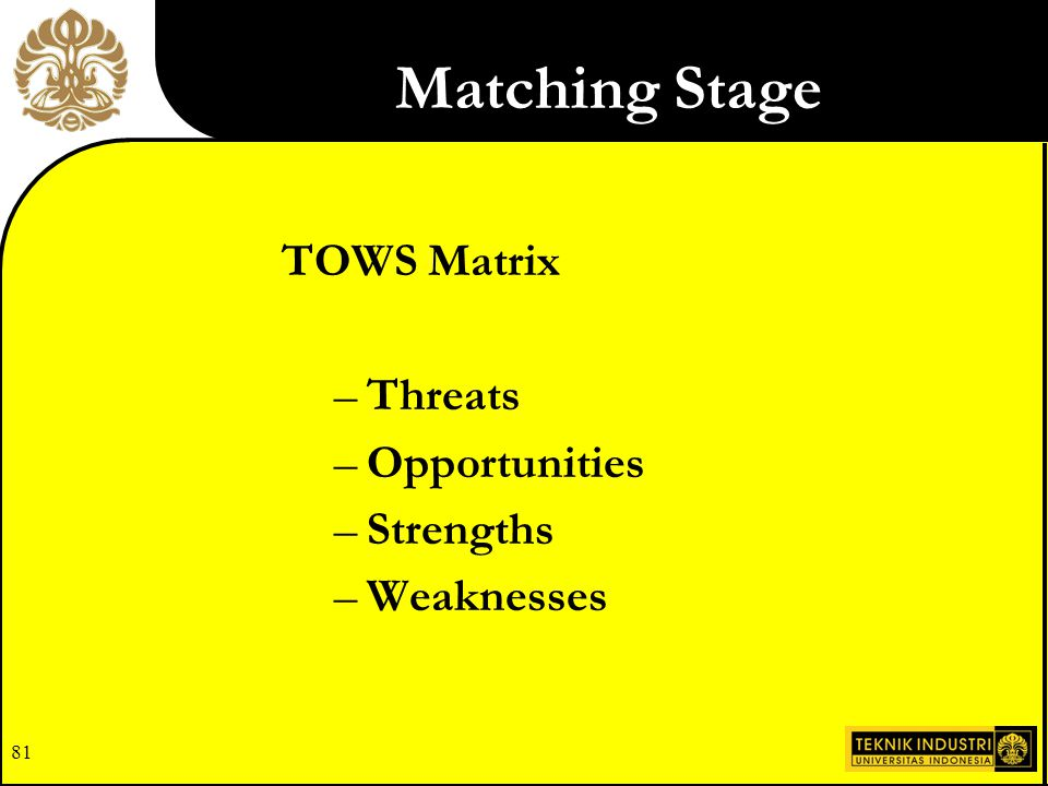 81 TOWS Matrix –Threats –Opportunities –Strengths –Weaknesses Matching Stage