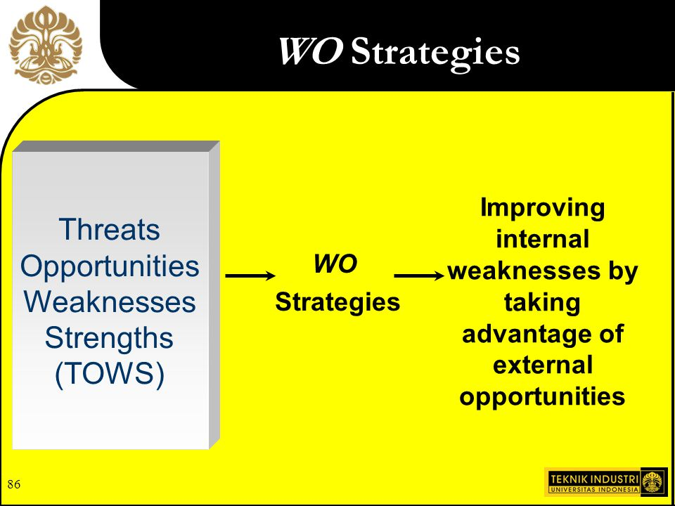 85 SO Strategies Use a firm's internal strengths to take advantage of external opportunities Threats Opportunities Weaknesses Strengths (TOWS) SO Stra