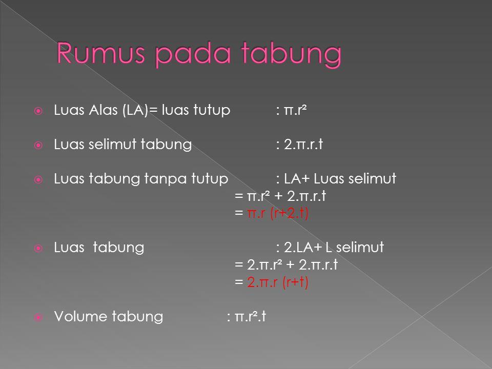  Luas Alas (LA)= luas tutup: π.r²  Luas selimut tabung: 2.π.r.t  Luas tabung tanpa tutup: LA+ Luas selimut = π.r² + 2.π.r.t = π.r (r+2.t)  Luas ta