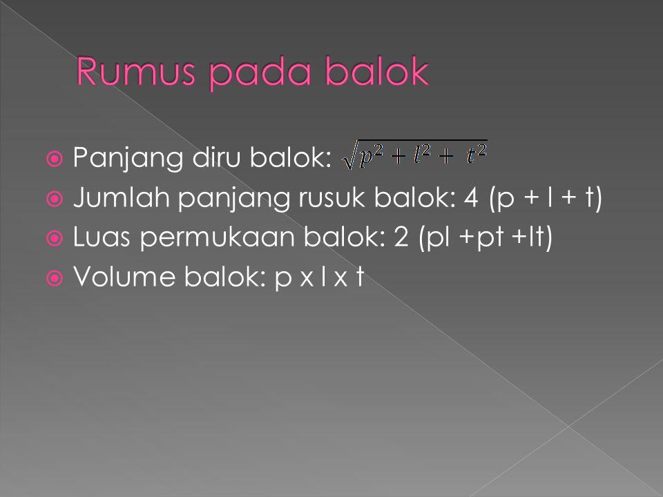  Panjang diru balok:  Jumlah panjang rusuk balok: 4 (p + l + t)  Luas permukaan balok: 2 (pl +pt +lt)  Volume balok: p x l x t