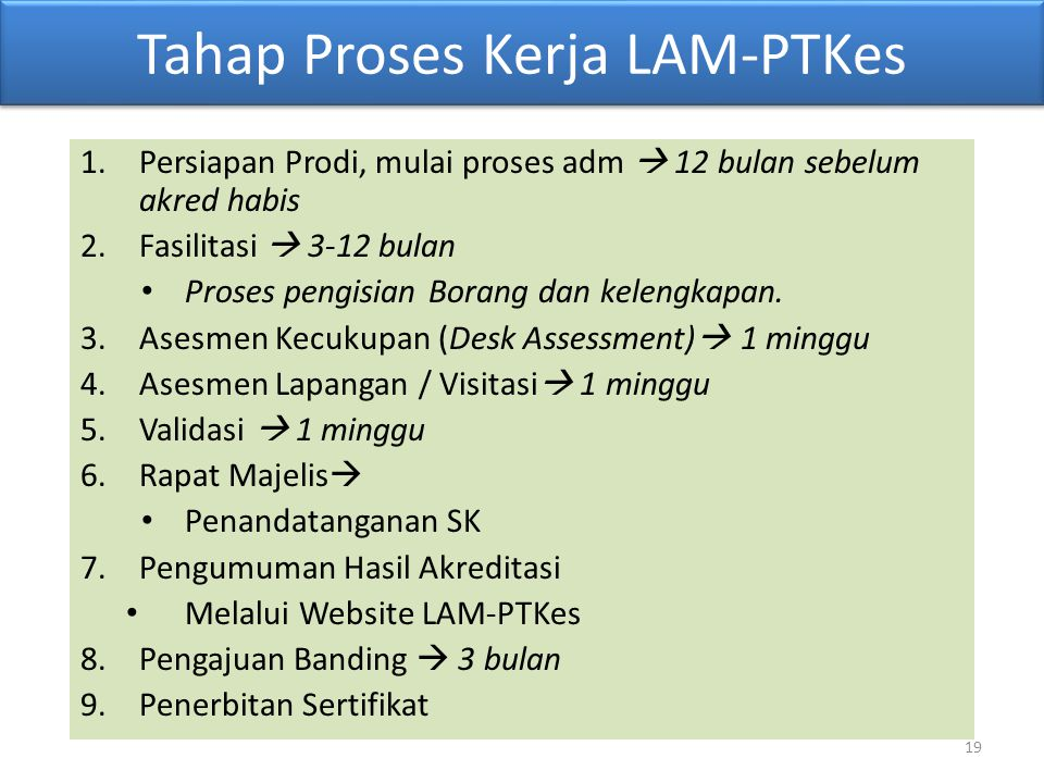 19 Tahap Proses Kerja LAM-PTKes 1.Persiapan Prodi, mulai proses adm  12 bulan sebelum akred habis 2.Fasilitasi  3-12 bulan Proses pengisian Borang d
