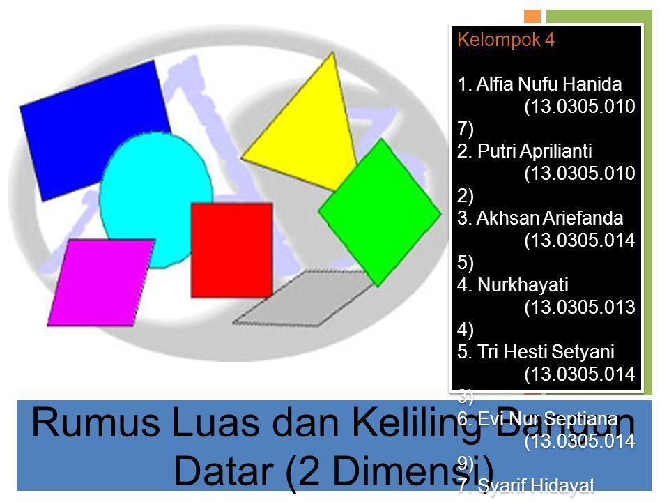 Rumus Luas dan Keliling Bangun Datar (2 Dimensi) Kelompok 4 1. Alfia Nufu Hanida (13.0305.010 7) 2. Putri Aprilianti (13.0305.010 2) 3. Akhsan Ariefan