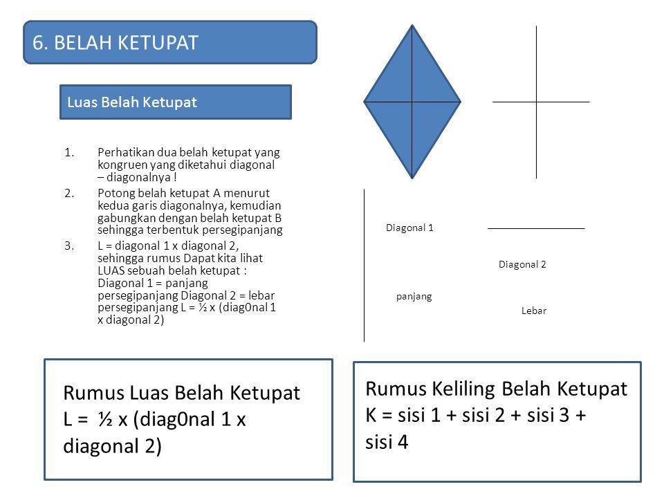 1.Perhatikan dua belah ketupat yang kongruen yang diketahui diagonal – diagonalnya ! 2.Potong belah ketupat A menurut kedua garis diagonalnya, kemudia