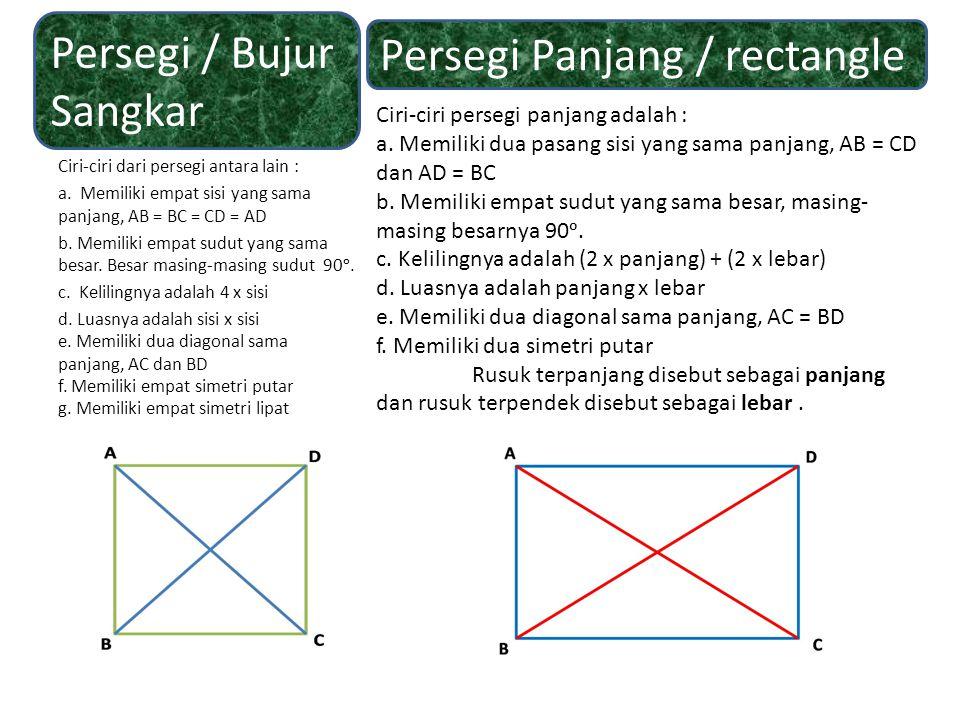 Ciri-ciri dari persegi antara lain : a. Memiliki empat sisi yang sama panjang, AB = BC = CD = AD b. Memiliki empat sudut yang sama besar. Besar masing