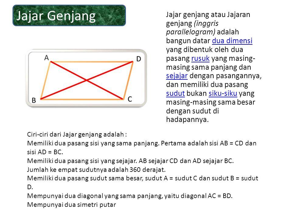 Jajar genjang atau Jajaran genjang (inggris parallelogram) adalah bangun datar dua dimensi yang dibentuk oleh dua pasang rusuk yang masing- masing sam
