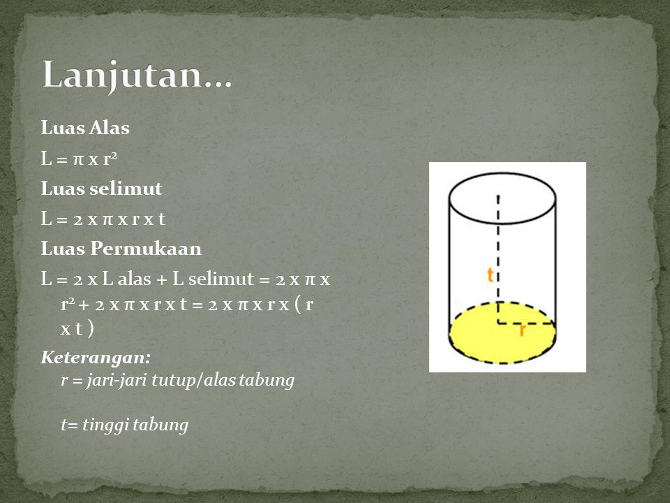 Luas Alas L = π x r 2 Luas selimut L = 2 x π x r x t Luas Permukaan L = 2 x L alas + L selimut = 2 x π x r 2 + 2 x π x r x t = 2 x π x r x ( r x t ) K