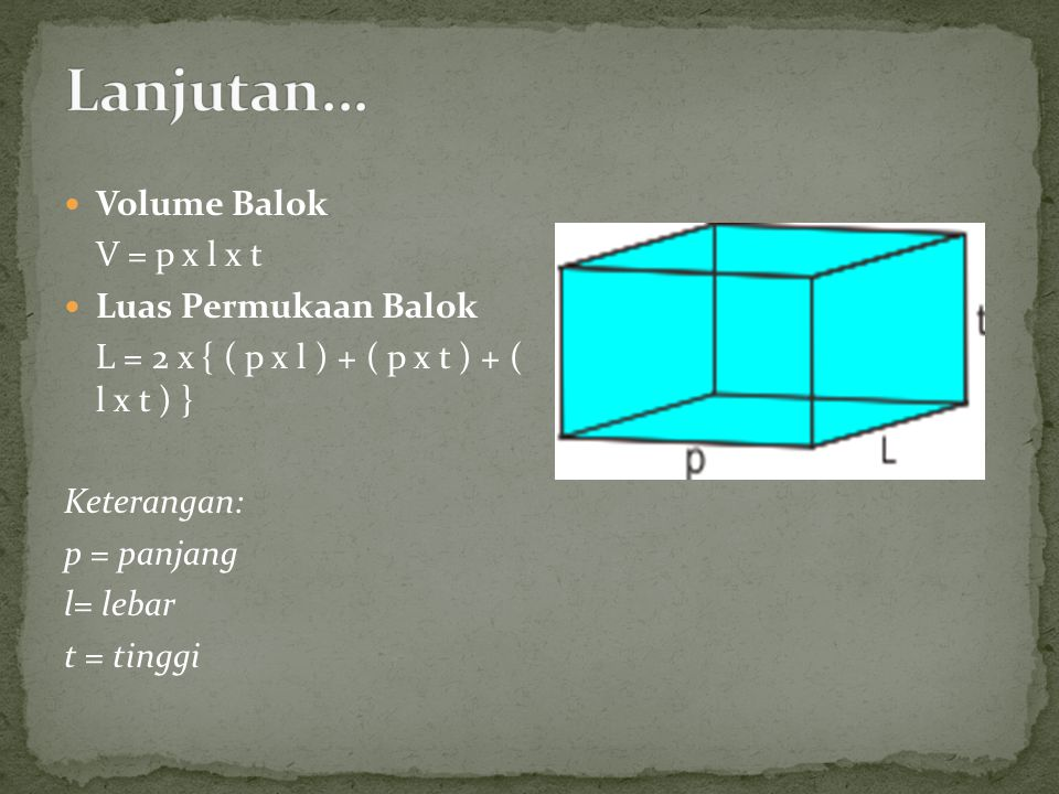 Volume Balok V = p x l x t Luas Permukaan Balok L = 2 x { ( p x l ) + ( p x t ) + ( l x t ) } Keterangan: p = panjang l= lebar t = tinggi