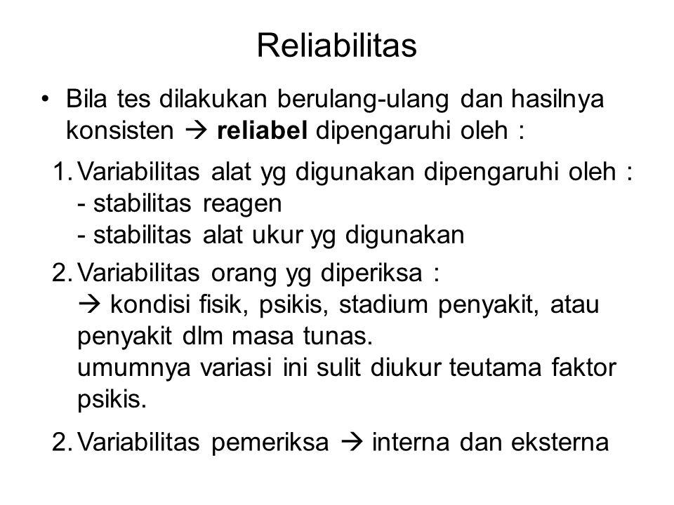 Reliabilitas Bila tes dilakukan berulang-ulang dan hasilnya konsisten  reliabel dipengaruhi oleh : 1.Variabilitas alat yg digunakan dipengaruhi oleh