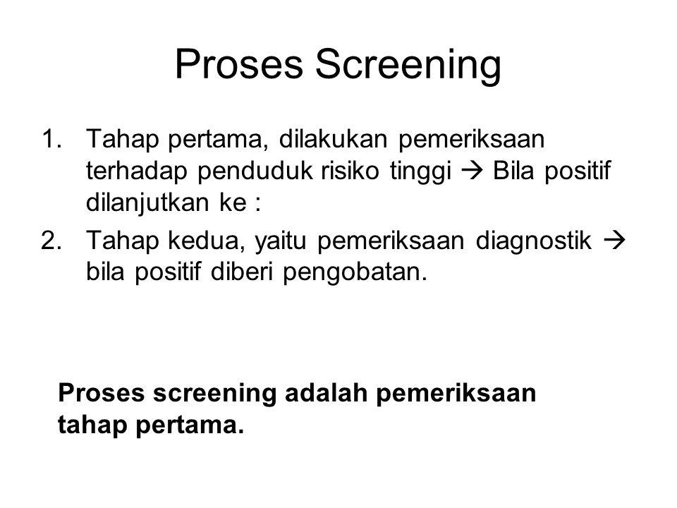 Pemeriksaan screening, al: - pemeriksaan gula darah - pemeriksaan rontgen untuk TBC - screening murid SD Syarat uji screening : - dengan cepat dapat memilih sasaran untuk pemeriksaan lebih lanjut - tidak mahal - mudah dilakukan oleh petugas kesehatan - tidak membahayakan yang diperiksa dan pemeriksa