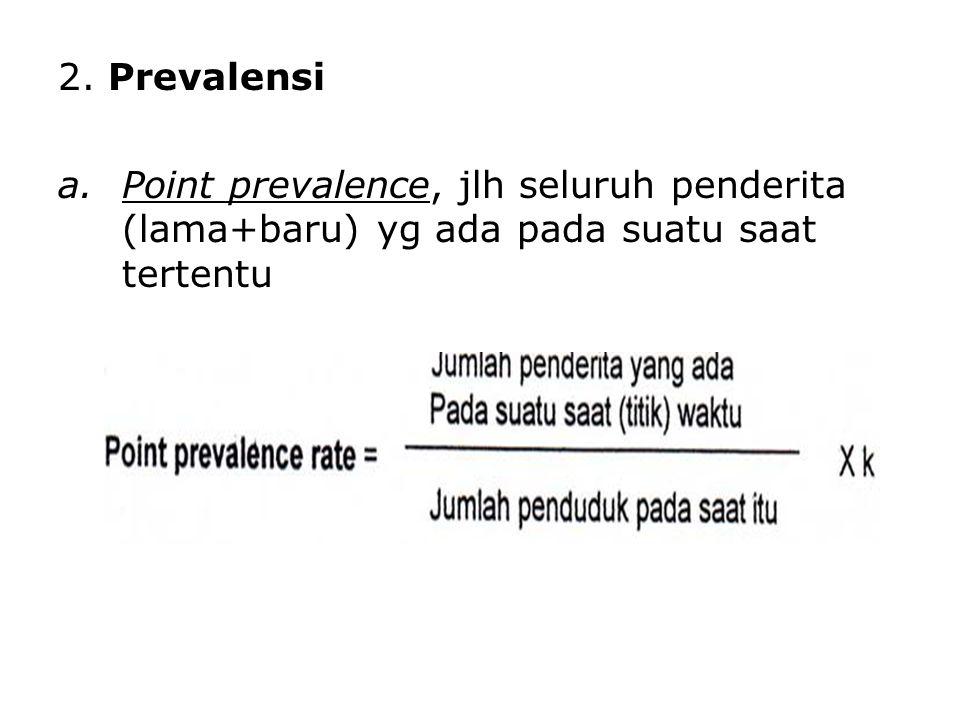 2. Prevalensi a.Point prevalence, jlh seluruh penderita (lama+baru) yg ada pada suatu saat tertentu