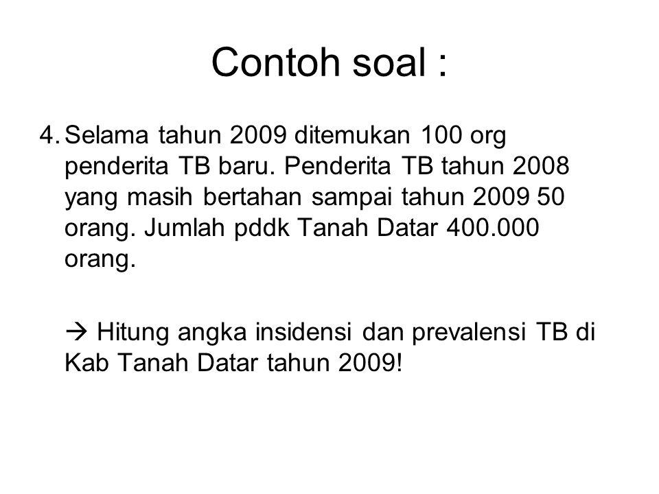 4.Selama tahun 2009 ditemukan 100 org penderita TB baru. Penderita TB tahun 2008 yang masih bertahan sampai tahun 2009 50 orang. Jumlah pddk Tanah Dat