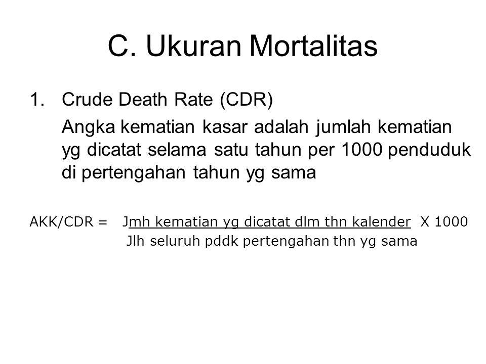 C. Ukuran Mortalitas 1.Crude Death Rate (CDR) Angka kematian kasar adalah jumlah kematian yg dicatat selama satu tahun per 1000 penduduk di pertengaha