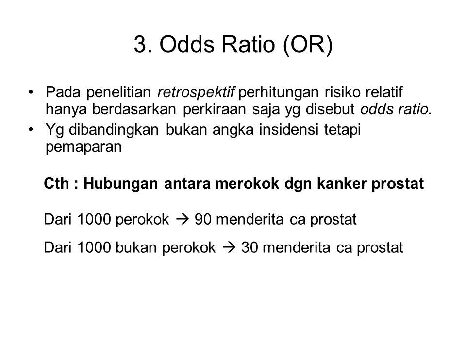 3. Odds Ratio (OR) Pada penelitian retrospektif perhitungan risiko relatif hanya berdasarkan perkiraan saja yg disebut odds ratio. Yg dibandingkan buk