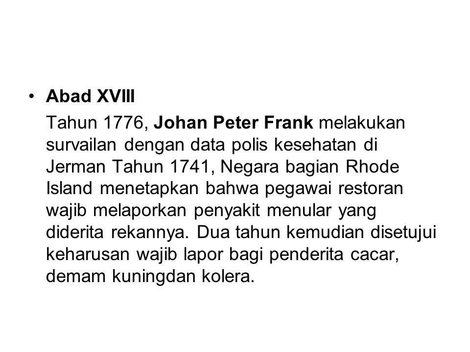 Abad XVIII Tahun 1776, Johan Peter Frank melakukan survailan dengan data polis kesehatan di Jerman Tahun 1741, Negara bagian Rhode Island menetapkan b