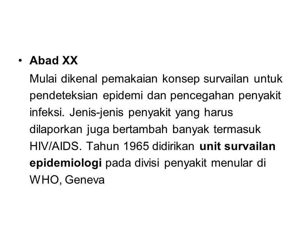 Abad XX Mulai dikenal pemakaian konsep survailan untuk pendeteksian epidemi dan pencegahan penyakit infeksi. Jenis-jenis penyakit yang harus dilaporka