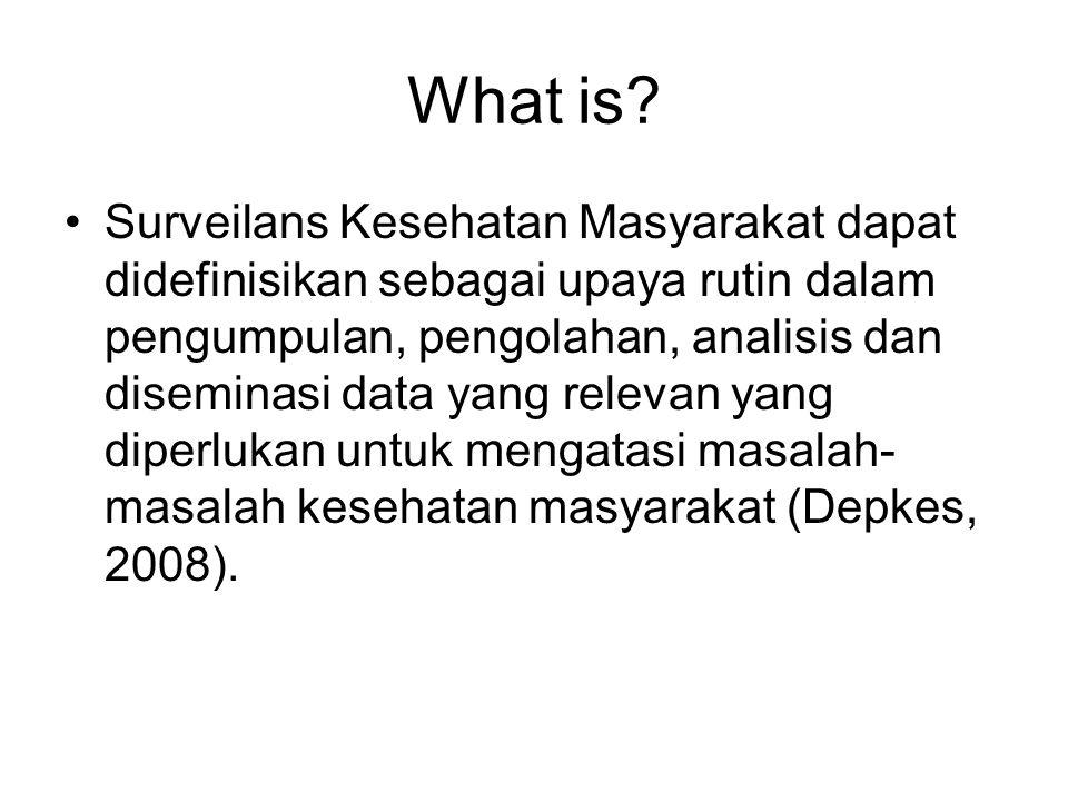 What is? Surveilans Kesehatan Masyarakat dapat didefinisikan sebagai upaya rutin dalam pengumpulan, pengolahan, analisis dan diseminasi data yang rele