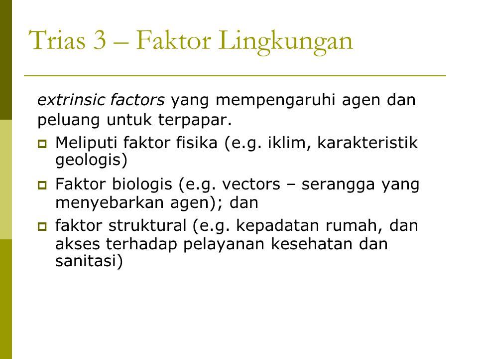 Trias 3 – Faktor Lingkungan extrinsic factors yang mempengaruhi agen dan peluang untuk terpapar.  Meliputi faktor fisika (e.g. iklim, karakteristik g
