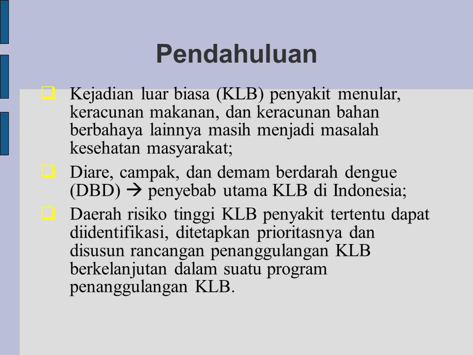 Pendahuluan  Kejadian luar biasa (KLB) penyakit menular, keracunan makanan, dan keracunan bahan berbahaya lainnya masih menjadi masalah kesehatan masyarakat;  Diare, campak, dan demam berdarah dengue (DBD)  penyebab utama KLB di Indonesia;  Daerah risiko tinggi KLB penyakit tertentu dapat diidentifikasi, ditetapkan prioritasnya dan disusun rancangan penanggulangan KLB berkelanjutan dalam suatu program penanggulangan KLB.
