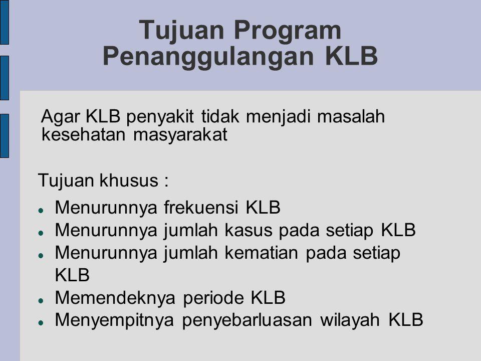 Tujuan Program Penanggulangan KLB Agar KLB penyakit tidak menjadi masalah kesehatan masyarakat Tujuan khusus : Menurunnya frekuensi KLB Menurunnya jumlah kasus pada setiap KLB Menurunnya jumlah kematian pada setiap KLB Memendeknya periode KLB Menyempitnya penyebarluasan wilayah KLB
