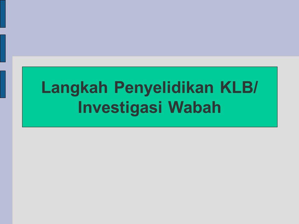 Langkah Investigasi Wabah/ Penyelidikan KLB 1.Verifikasi diagnosis 2.Tampilkan epidemiologi deskriptif 3.Rumuskan hipotesis
