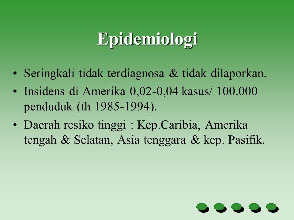 Epidemiologi Seringkali tidak terdiagnosa & tidak dilaporkan. Insidens di Amerika 0,02-0,04 kasus/ 100.000 penduduk (th 1985-1994). Daerah resiko ting