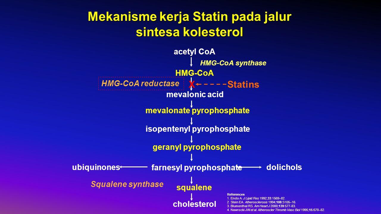 Mekanisme kerja Statin pada jalur sintesa kolesterol acetyl CoA HMG-CoA mevalonic acid mevalonate pyrophosphate isopentenyl pyrophosphate geranyl pyrophosphate farnesyl pyrophosphate squalene cholesterol dolicholsubiquinones HMG-CoA synthase HMG-CoA reductase Squalene synthase StatinsX References 1.
