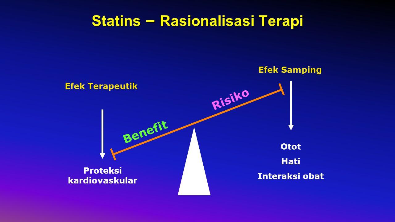 Statins – Rasionalisasi Terapi Efek Terapeutik Efek Samping Proteksi kardiovaskular Otot Hati Interaksi obat Benefit Risiko