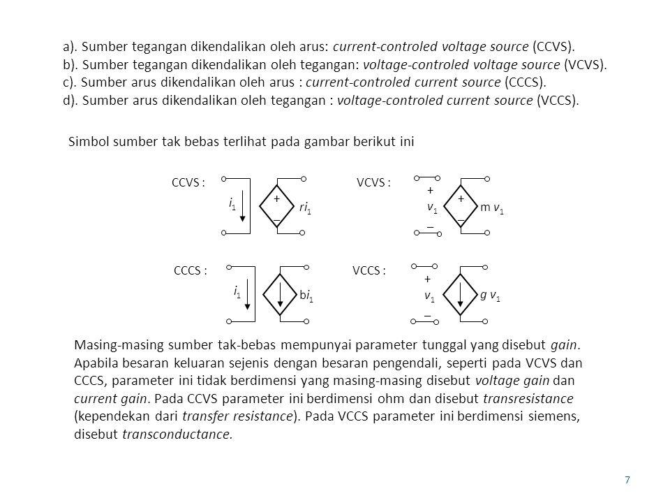 7 a). Sumber tegangan dikendalikan oleh arus: current-controled voltage source (CCVS).