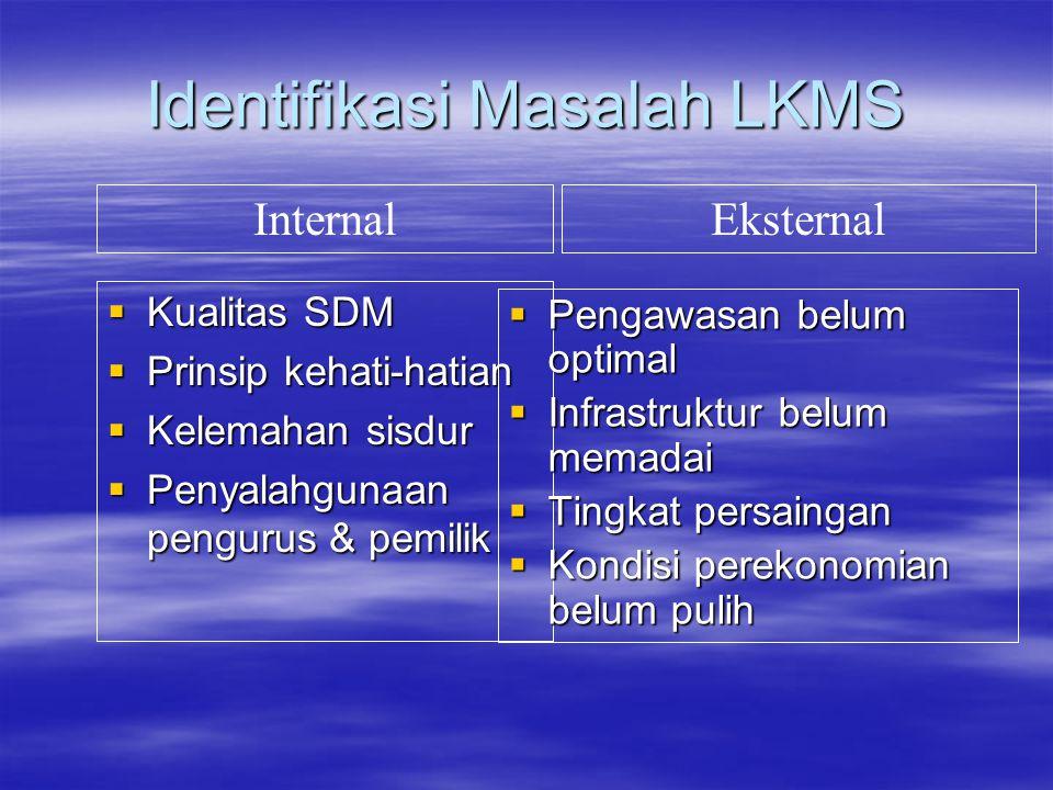 Identifikasi Masalah LKMS  Kualitas SDM  Prinsip kehati-hatian  Kelemahan sisdur  Penyalahgunaan pengurus & pemilik  Pengawasan belum optimal  I