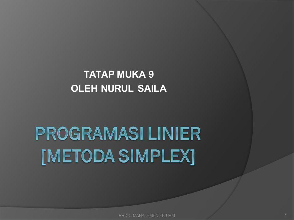 Metode Simpleks  Adalah suatu metode atau prosedur perhitungan untuk menentukan penyelesaian dasar yang memungkinkan atas suatu sistem persamaan dan pengujian keoptimalan penyelesaian tersebut.