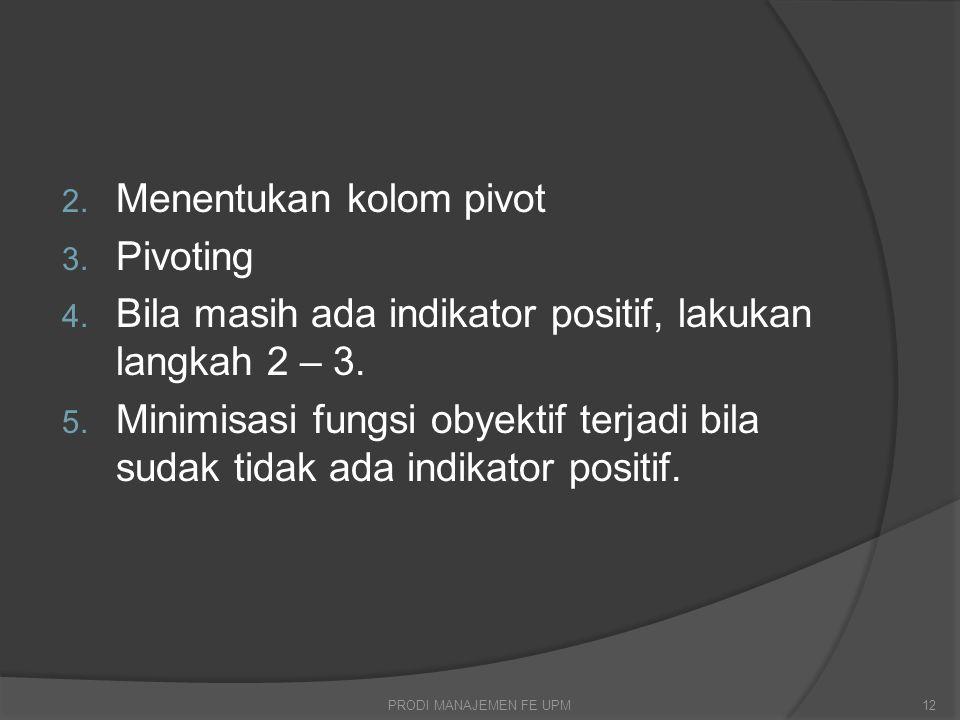 2. Menentukan kolom pivot 3. Pivoting 4. Bila masih ada indikator positif, lakukan langkah 2 – 3.