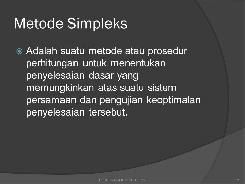Menyelesaikan Masalah Maksimasi Programasi Linier Dg Simpleks 1.