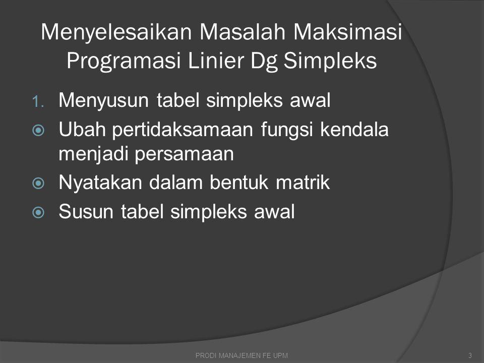 Tabel simpleks awal xypqrABCkonstanta 210010014 110001012 130000118 4M-25M-4-M 00044M PRODI MANAJEMEN FE UPM14
