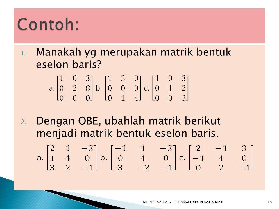 1.Manakah yg merupakan matrik bentuk eselon baris.
