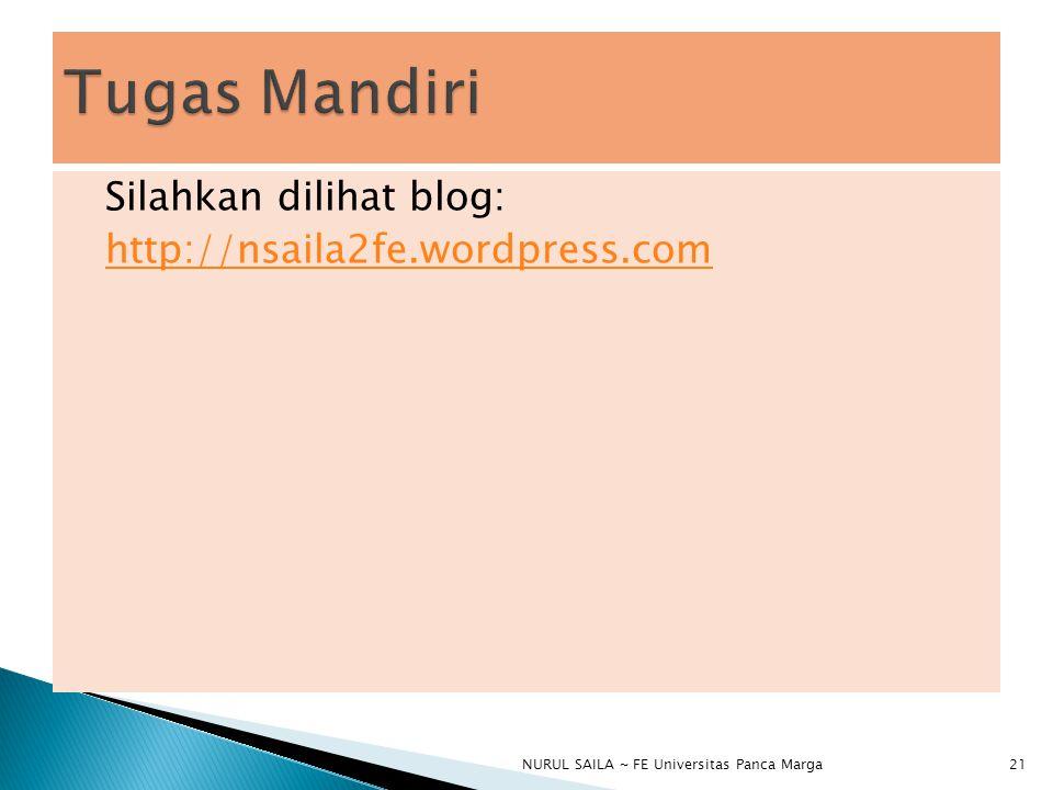Silahkan dilihat blog: http://nsaila2fe.wordpress.com NURUL SAILA ~ FE Universitas Panca Marga21