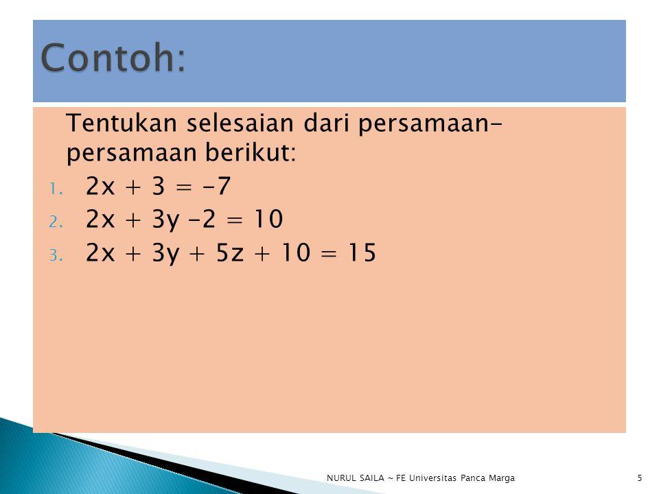  Sebuah himpunan berhingga dari persamaan linier dalam variable-variabel x 1, x 2, …, x n dinamakan sebuah system persamaan linier atau sebuah system linier.