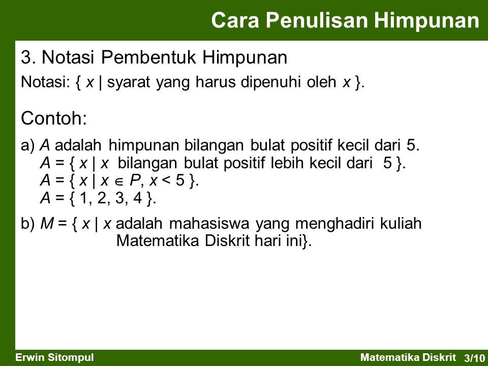3/10 Erwin SitompulMatematika Diskrit Cara Penulisan Himpunan Contoh: a) A adalah himpunan bilangan bulat positif kecil dari 5. A = { x   x bilangan b