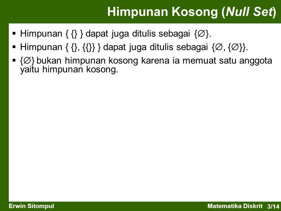 3/14 Erwin SitompulMatematika Diskrit Himpunan Kosong (Null Set)  Himpunan { {} } dapat juga ditulis sebagai {  }.  Himpunan { {}, {{}} } dapat jug