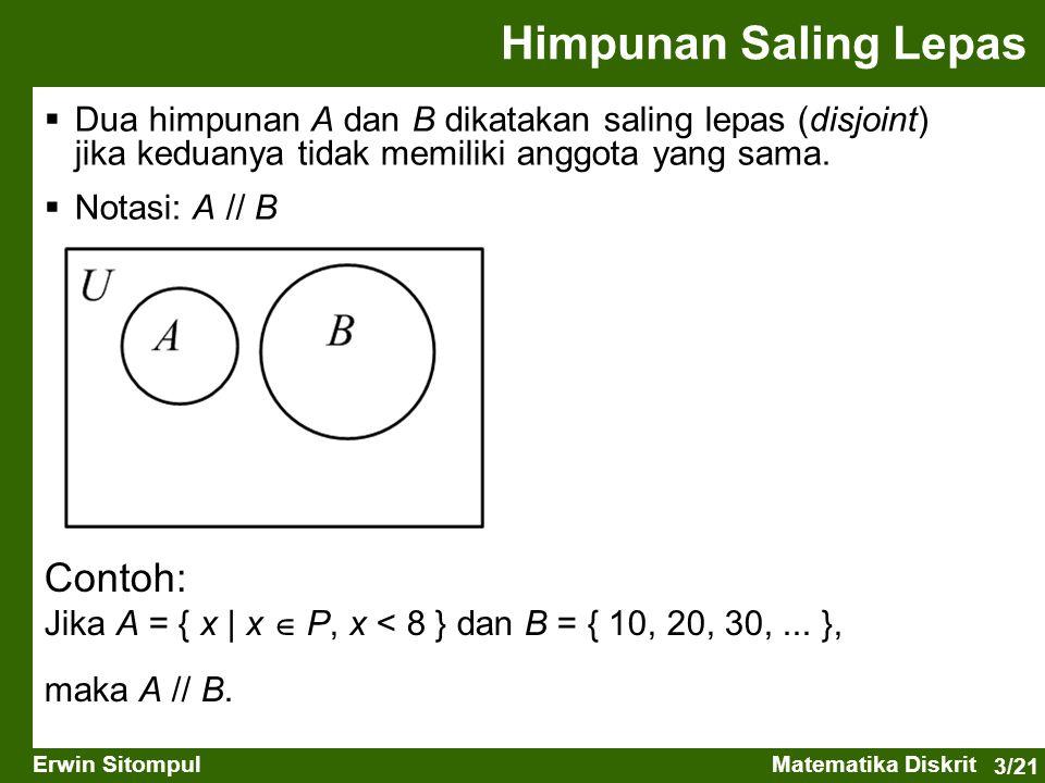 3/21 Erwin SitompulMatematika Diskrit Himpunan Saling Lepas  Dua himpunan A dan B dikatakan saling lepas (disjoint) jika keduanya tidak memiliki angg