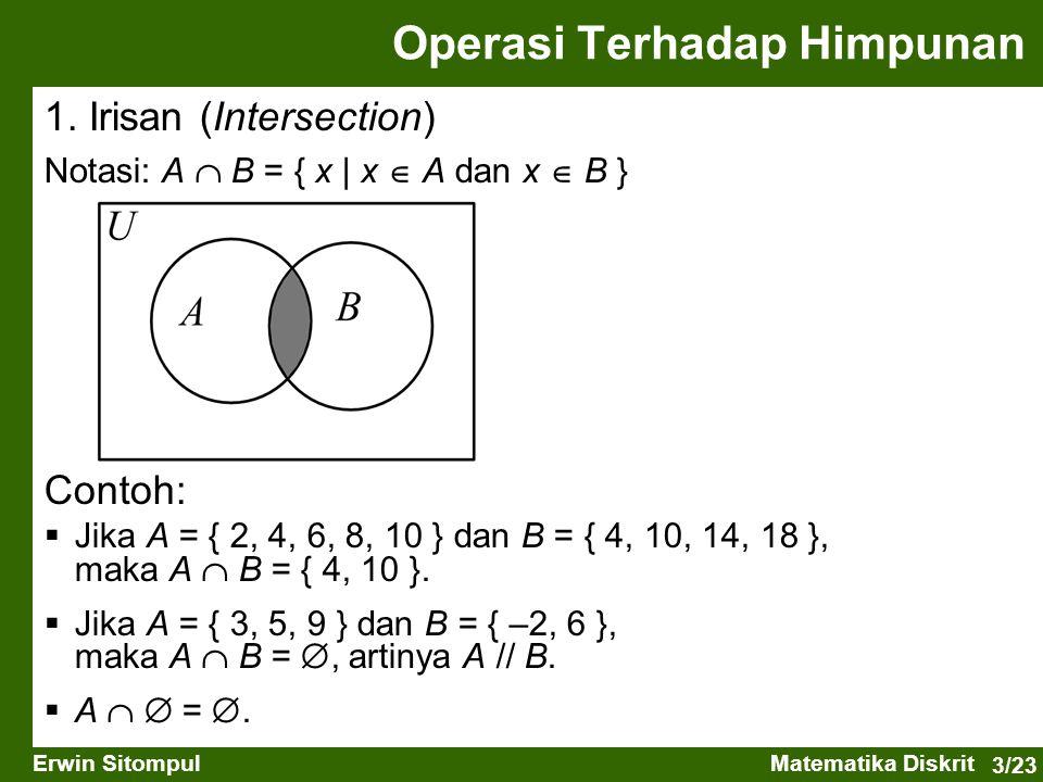 3/23 Erwin SitompulMatematika Diskrit 1. Irisan (Intersection) Notasi: A  B = { x   x  A dan x  B } Operasi Terhadap Himpunan Contoh:  Jika A = {
