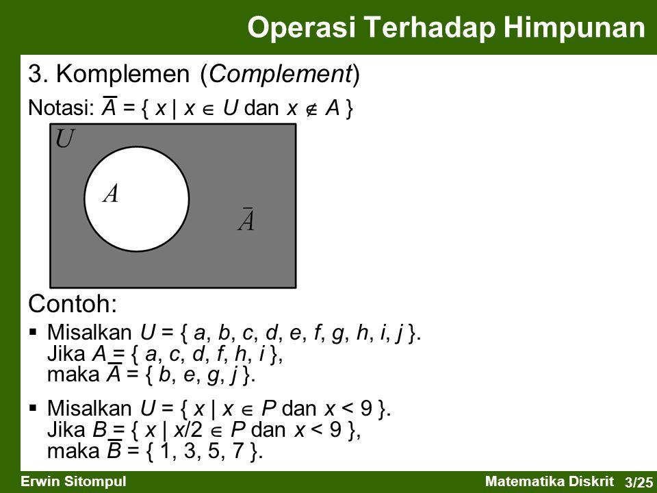 3/25 Erwin SitompulMatematika Diskrit 3. Komplemen (Complement) Notasi: A = { x   x  U dan x  A } Operasi Terhadap Himpunan Contoh:  Misalkan U = {