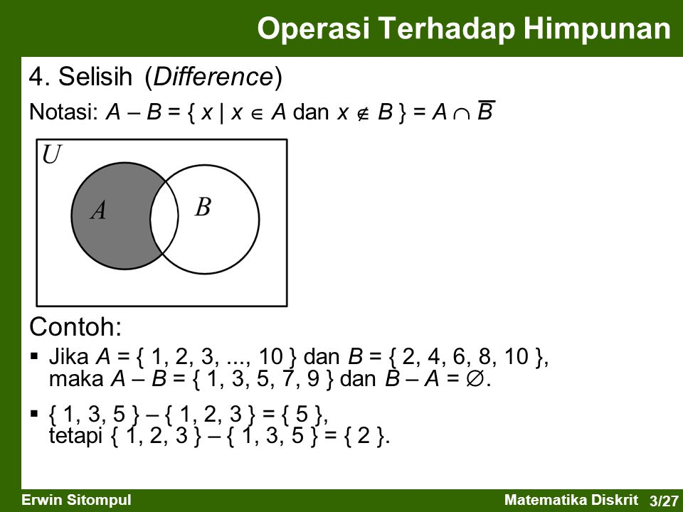 3/27 Erwin SitompulMatematika Diskrit 4. Selisih (Difference) Notasi: A – B = { x   x  A dan x  B } = A  B Operasi Terhadap Himpunan Contoh:  Jika