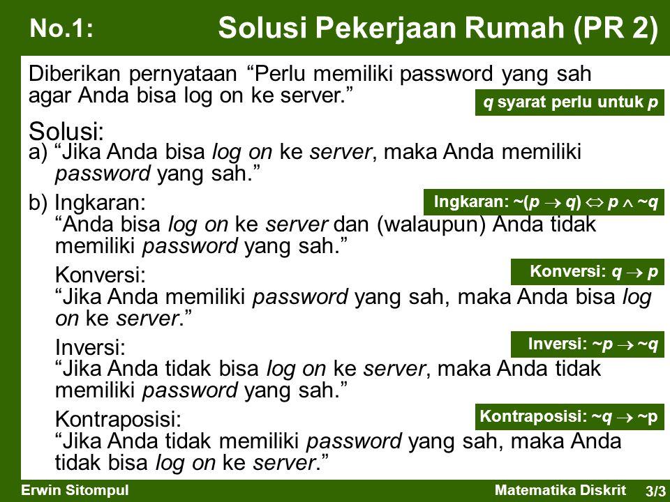 """3/3 Erwin SitompulMatematika Diskrit Solusi Pekerjaan Rumah (PR 2) a) """"Jika Anda bisa log on ke server, maka Anda memiliki password yang sah."""" b) Ingk"""
