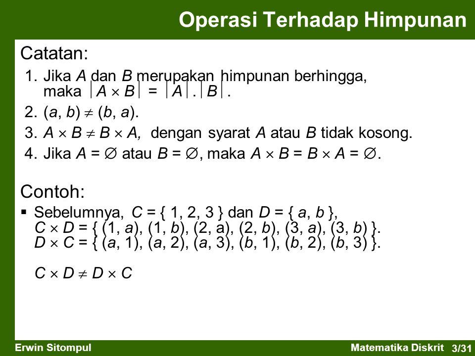 3/31 Erwin SitompulMatematika Diskrit Catatan: 1.Jika A dan B merupakan himpunan berhingga, maka  A  B  =  A .  B . 2.(a, b)  (b, a). 3.A  B
