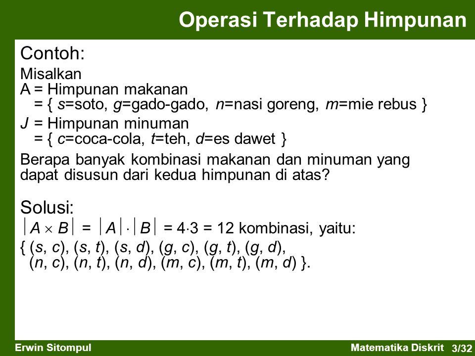 3/32 Erwin SitompulMatematika Diskrit Operasi Terhadap Himpunan Contoh: Misalkan A= Himpunan makanan = { s=soto, g=gado-gado, n=nasi goreng, m=mie reb