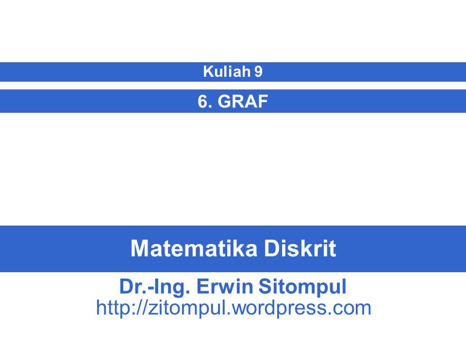 9/22 Erwin SitompulMatematika Diskrit Terminologi Graf  Pada graf berarah: d in (v)= derajat-masuk (in-degree) = jumlah busur yang masuk ke simpul d out (v)= derajat-keluar (out-degree) = jumlah busur yang keluar dari simpul v d(v)= d in (v) + d out (v)